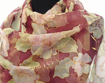 Chiffon silk scarf hand painted amaranth pale green dark red gold Floral LONG sheer wrap Flowers feminine classy gift for her. Made in Italy