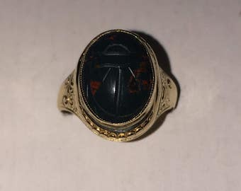 Bloodstone Poison Scarab Ring