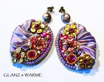 GOLDEN FLOWERS shibori earrings with Swarovski stones