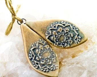 Mandala petal shape pendants|Gray and hazelnut glazes