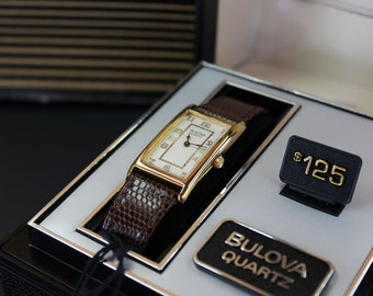 Vintage Bulova Quartz Men's Brown Leather Wrist Watch in Gold Tone NIB / NOS / NWT