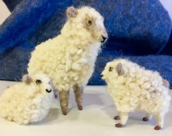 Needle felted sheep, felted flock, felted nativity, felted Chistmas, wool sheep, waldorf, nature table animal, nativity ornament, wool ram