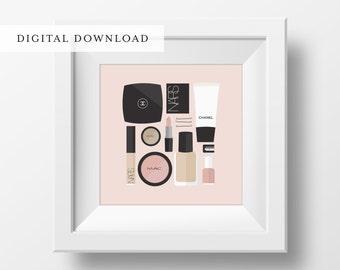 Flat Lay Illustration   Makeup Drawer   Girly Print   Fashion Print   Makeup Print   DIGITAL DOWNLOAD