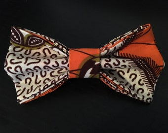 Orange Olive and White African Print Bow Barrette