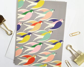 Bird's in flight printed card / Birthday card / Mothers day card / Printed in the UK.