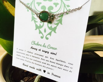 Lithotherapy Chakra of the heart, stainless steel, aventurine necklace