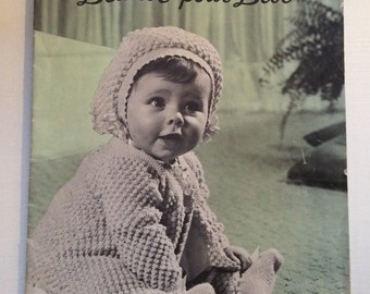 French Vintage crochet book for babies / Patons & Baldwins / 1950 crochet patterns