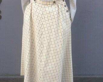 Vintage eighties jaeger wool check skirt with braces | uk size 12