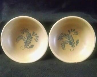 2 McCoy 1413 Bluefield bowls ~ 1977 ~ cereal bowls ~soup bowls ~ salad bowls ~ décor bowls