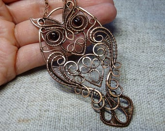 Owl, wire wrapped owl with garnet, owl pendant, handcrafted owl jewelry, copper owl with garnet, owl with garnet eyes,