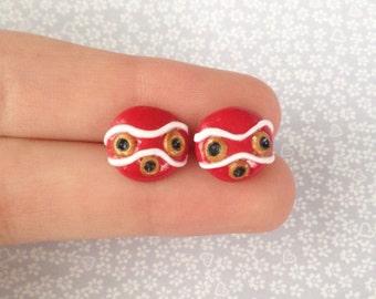 Polymer Clay Princess Mononoke Earrings Studio Ghibli