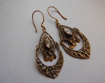 SALE Vintage Brass Filigree Abalone Drop Earrings