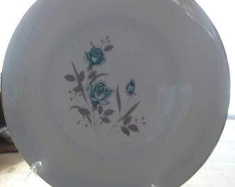 Royal Taunton BLUE ROSE Dinner Plate 1960's White Plate Platinum Trim