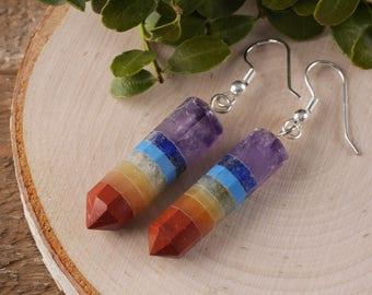 7 Chakra Earrings - Stone Earrings, 7 Chakra Jewelry, Rainbow Earrings, 7 Chakra Stones, Rainbow Jewelry, Chakra Wand, Healing Crystal E0321