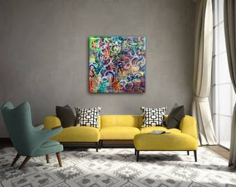 "Large Original 36"" x 36"" Abstract Painting: Dancing on my own"