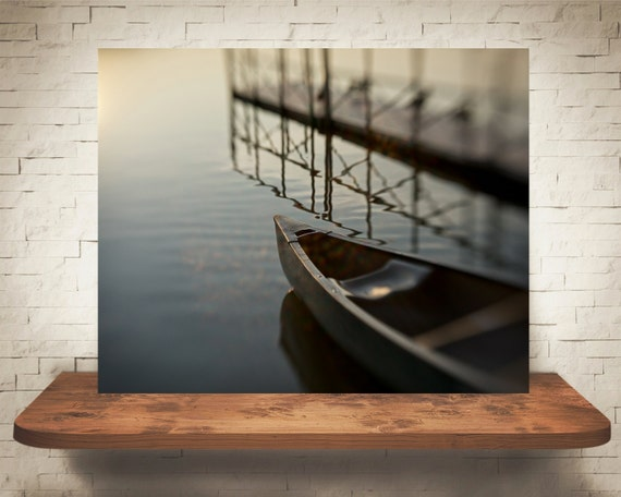 Canoe on Lake Photograph - Fine Art Print - Home Wall Decor - Blue Pictures - Rowboat - Lake House Decor - House Warming Gifts - Living Room