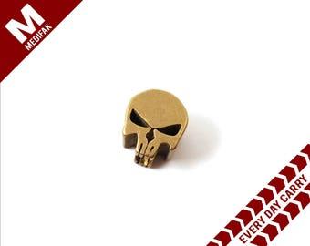 Brass Paracord Bead Skull Brass Zipper Charm Paracord Charm Para Cord Mil Spec Slider Bead Every Day Carry Pocket Knife Accent Gear Skull