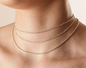Dainty Silver Choker Necklace Delicate Silver Choker Necklace Silver Chain Choker Chain Choker Necklace Simple Silver Choker Minimal Choker