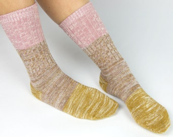 Cotton Color Block Two-Tone Threads Crew Socks for Women Rose Pink Gold
