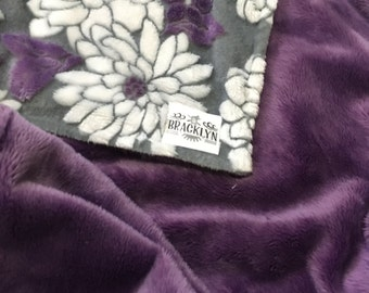 Super Soft Minky Baby Blanket in violetta, cool grey and white