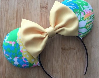 Lilly Pulitzer Ears, Lilly Pulitzer Inspired Ears,hibiscus stroll Ears, Lilly Ears, Lilly Minnie Ears, Lilly Mickey Ears, Lilly Mouse Ears