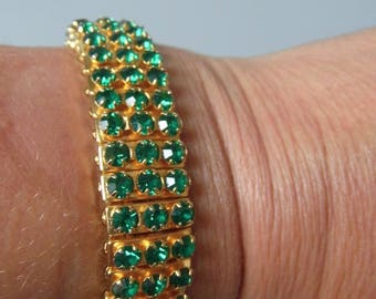 1950s vintage 3 row expanding Rhinestone bracelet