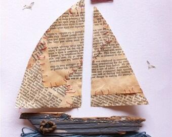 Nautical Art - Boar Art- Box Frame - Coastal Art- Driftwood Art - Paper Art - Book page Art- Boat Frame