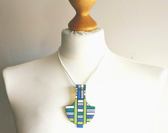 Jewelry geometric, jewelry turquoise, necklace geometric, necklace pastel, necklace light blue, gift for her, leather necklace