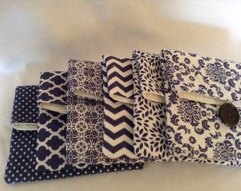 Blue and White Fold Over Pouch / Clutch