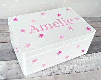 Personalised Baby & Children's Keepsake, Memory Storage Box. Hand painted Wooden Box. Christening, Baby, Birthday or Christmas Gift