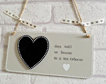 Wedding Countdown Plaque - Personalised Hanging Chalkboard Plaque Engagement Gift