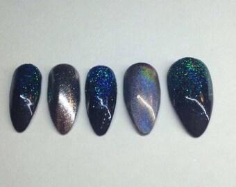 Galaxy Glitter nails | Chrome Nails |Custom made press on nails | Little Pretty Nails