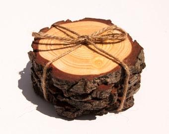 Wood Slice Coasters - set of 4. Woodslice Coasters, Rustic Coaster, Wedding Coasters, Unique Gift, Wedding Gift, Natural Wood Coaster