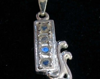 sparkling Blue Moonstone gemstone Pendant Sterling silver 925