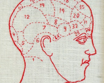 Phrenology Head Diagram. Framed Embroidery, Scientific Diagram Design