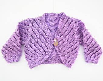 Baby Infant Girl Lilac Lacy Summer Shrug Cardigan - Festival Party Wedding Baby Gift - Hand knitted  - 6 to 12 months