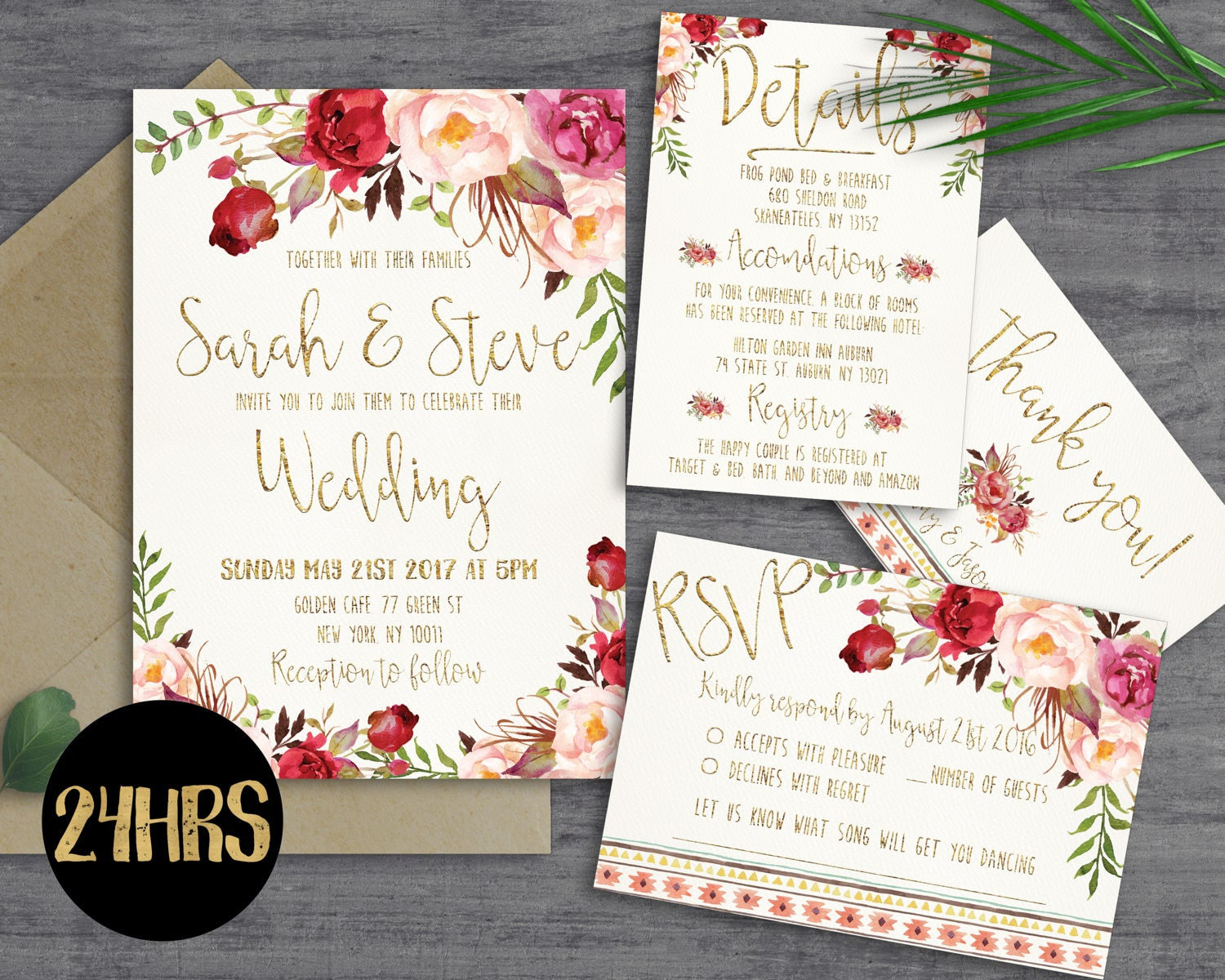 Printable Wedding Invitation Sets: Printable Wedding Invitation Wedding Invitations Set