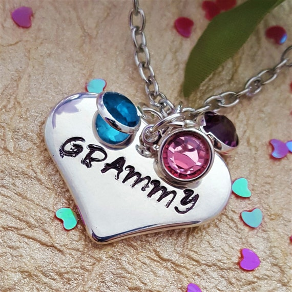 Gift for GRAMMY, Custom Grandma Birthstone Necklace, Personalized Birthstone Jewelry, Gift for Mimi, New Mom Gift, Heart Charms, Mother Wife