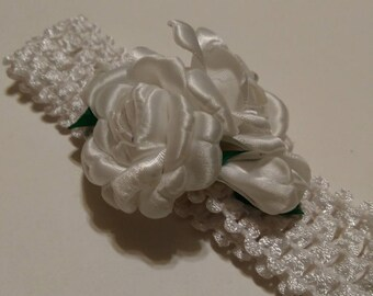 White Satin Double Roses Headband