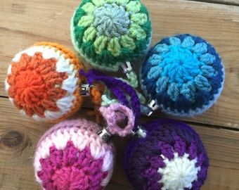 Handmade Crochet Rainbow Retro Christmas Baubles Set of 5