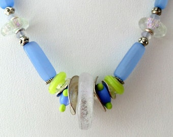 Periwinkle Blue & Lime Green Beaded Necklace (Handcrafted)