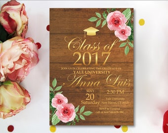 Senior Graduation Announcements, Graduation Party Invitation. Class of 2018. Rustic Wood. Fairy Lights. String Lights. Printable Digital