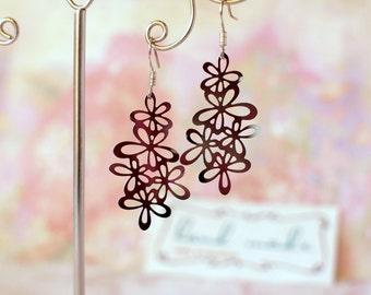 Elegant flower earrings Filigree stainless steel earrings Flower filigree earrings Sterling silver earrings Light weightless tender earrings