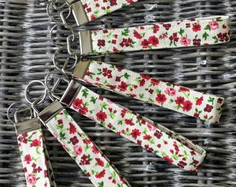 Red floral print fabric keyring / keychain / lanyard