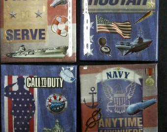 U.S. Navy Coasters, Man Cave Coasters, Coasters, Military Gift