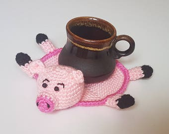 Gift For Friend Kitchen Dining Decor Mug Decor Pig Decor Gift Pink Pig Crochet Coasters Cute