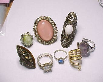 8 costume jewelry rings