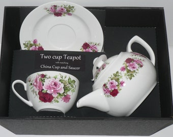Pink Rose Teapot cup and saucer gift boxed
