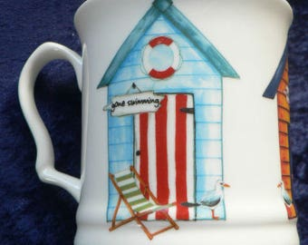 Beach Huts colourful fine bone china tankard large mug- personalised if required at no extra cost