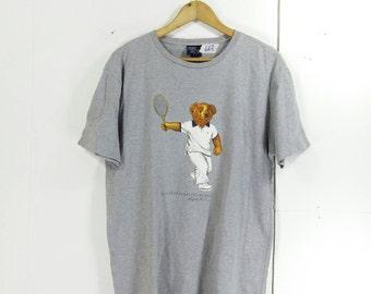 RALPH LAUREN Tshirt Men/Women Small Gray Vintage 90's Hip Hop Polo Bear Ralph Lauren Play Tennis Polo Sport Tee Tshirt  Size S